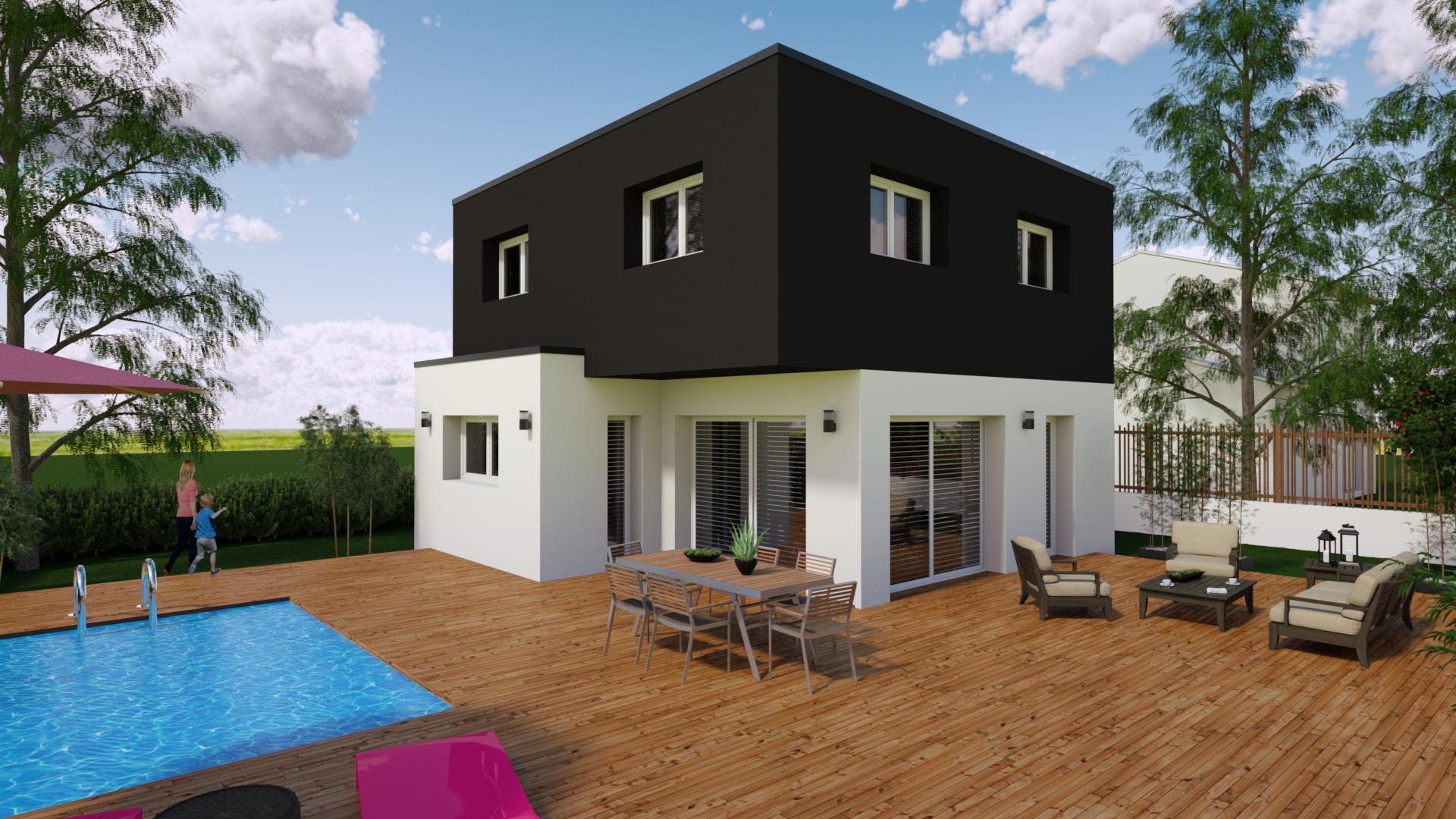 Coté jardin maison à toit plat