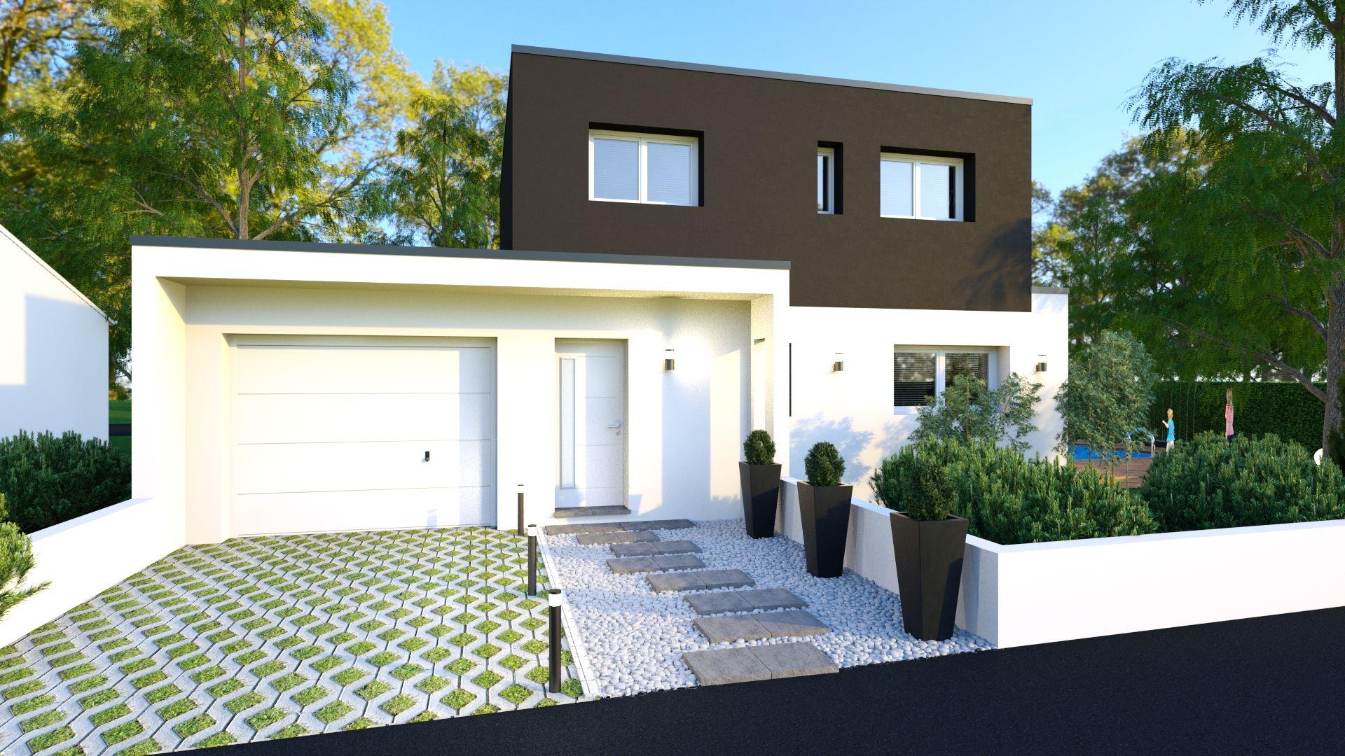 Découvrez les images de notre maison toit plat avec garage accolé
