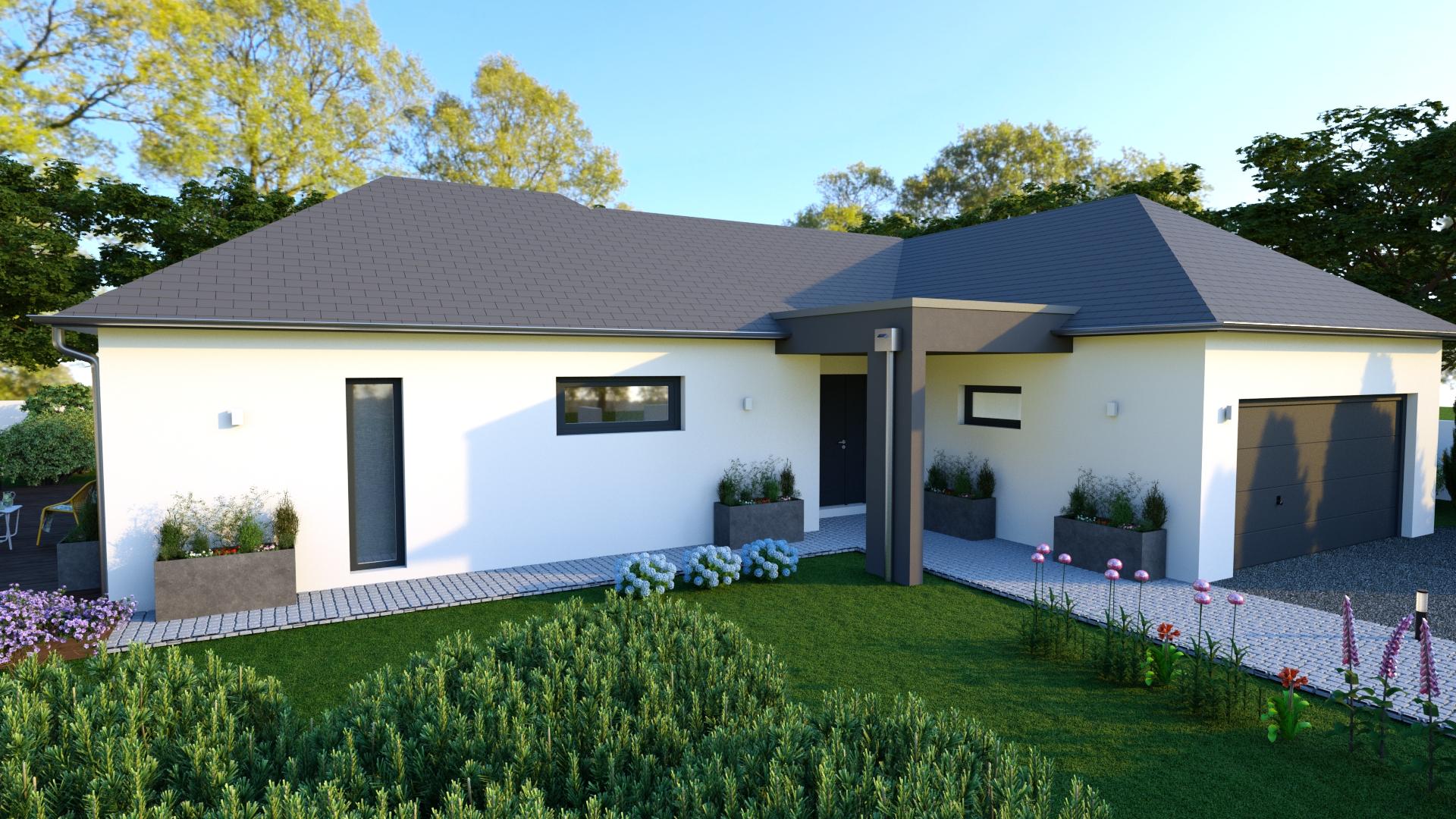 maison plain pied et 4 pans de 100 m conception hph. Black Bedroom Furniture Sets. Home Design Ideas