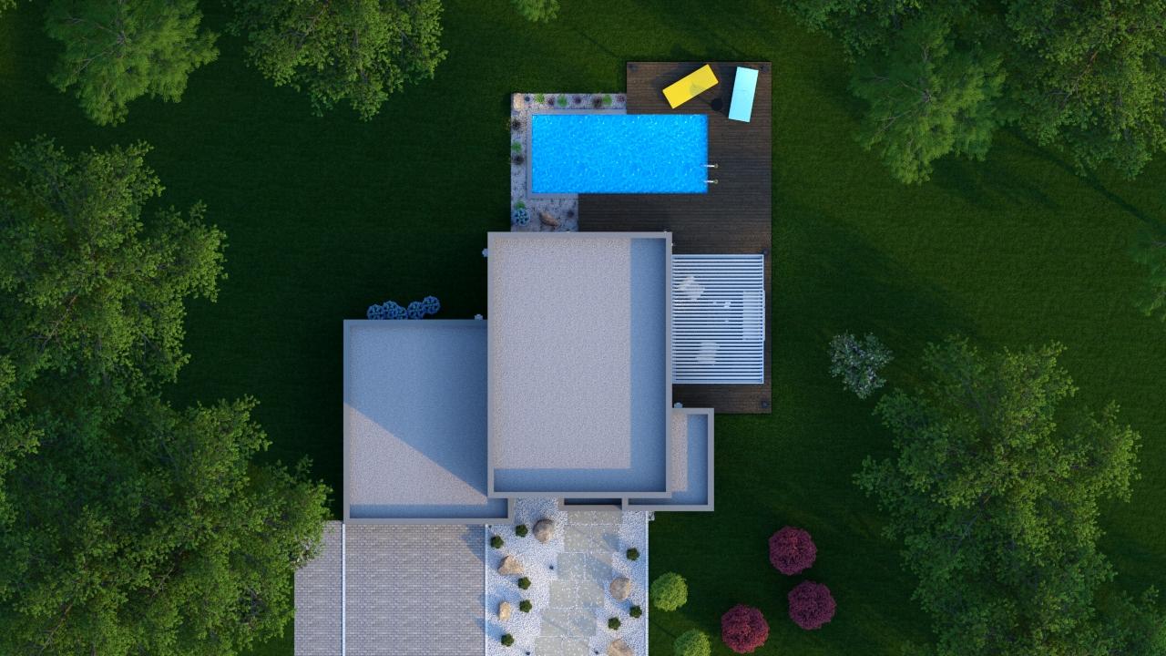 Maison à toit plat de dessus
