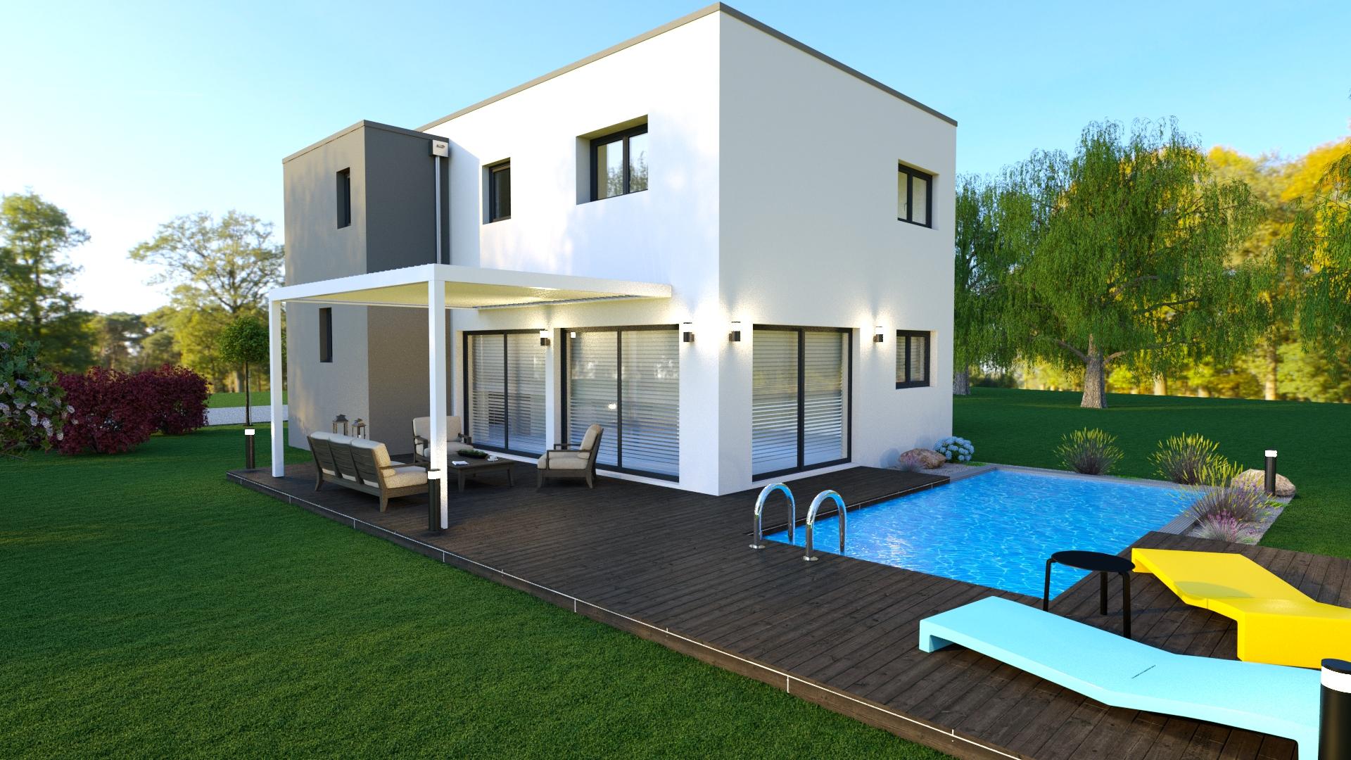 Maison à toit plat jardin