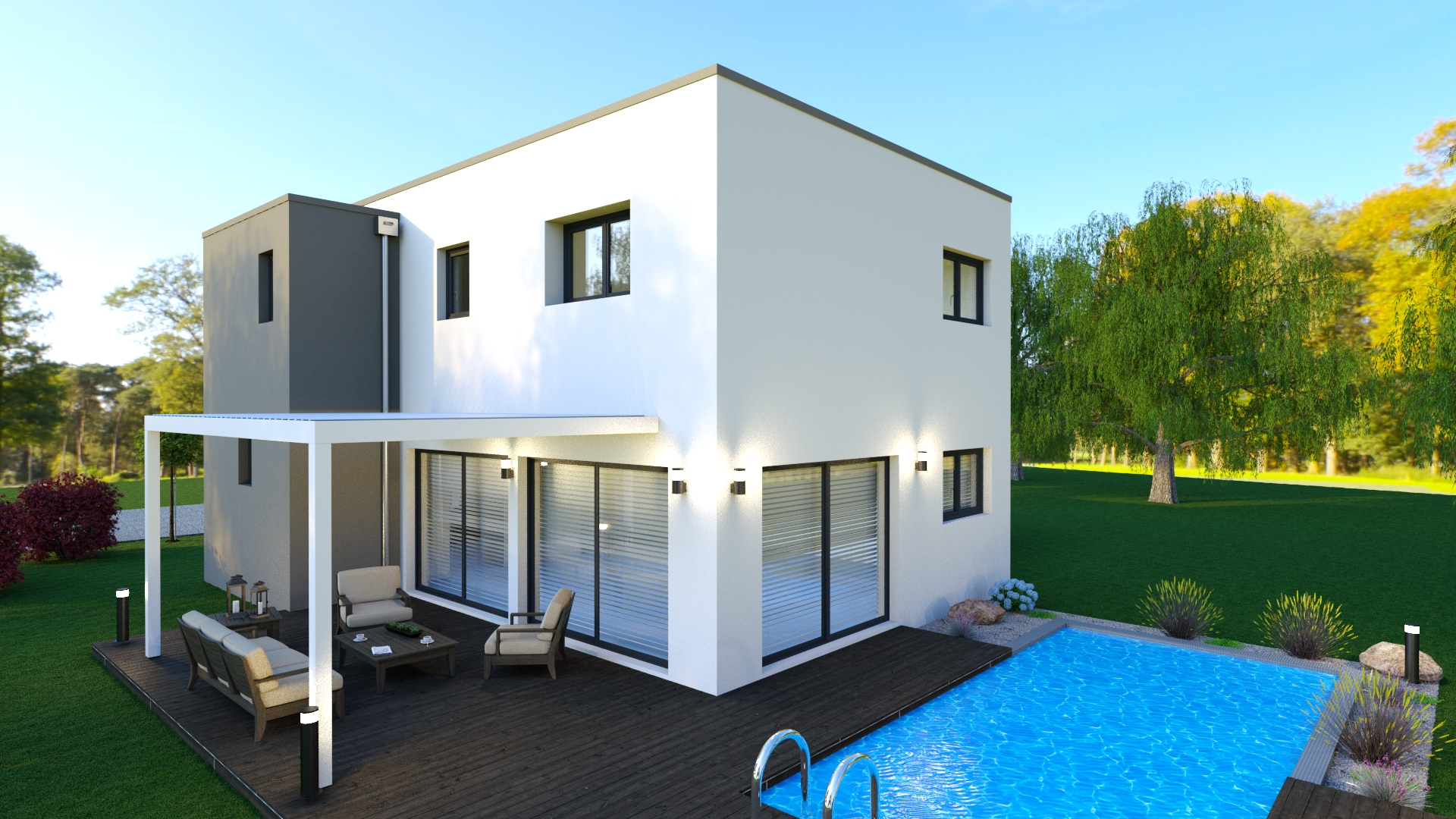 Maison à toit plat piscine